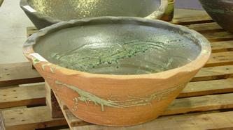大器の器 口広深睡蓮水鉢